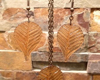 Gold Orange Color Glass Leaf Earrings with Antique Gold Ear Wire and Matching Necklace