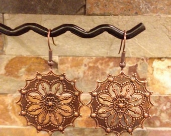 Antiqued Copper Disc Filigree Filagree Flower Design Earrings