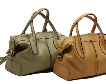 High quality napa leather purse, camel brown or light green, gold zipper