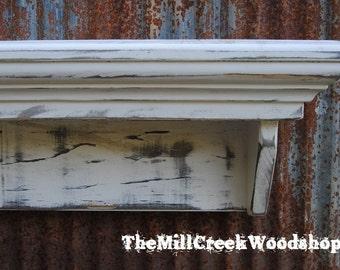 "Wall Shelf 36"" Floating Ledge Mantle Crown Molding Distressed Wooden Entryway Organizer Farmhouse Headboard Barn Decor Rustic Wood"