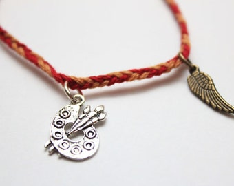 Shadowhunters, The Mortal Instruments inspired Clary/Jace 'Clace' charm bracelet - City of Bones - Palette, Wing