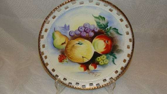 Norleans Japan Hand Painted Collectors Plate Fruit Pears