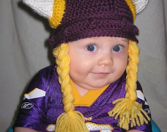 Crocheted Viking Helmet with Braids- Minnesota Vikings Version
