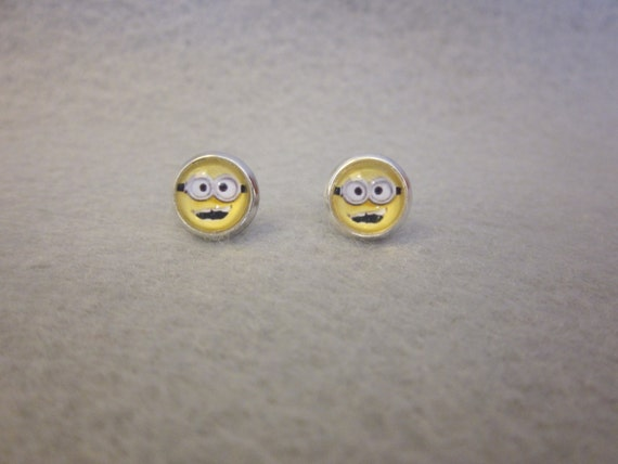 Minion Earrings with Silver Rim