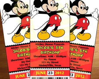 Mickey Mouse ticket invitation printable diy invite RED customized personalized  modern print