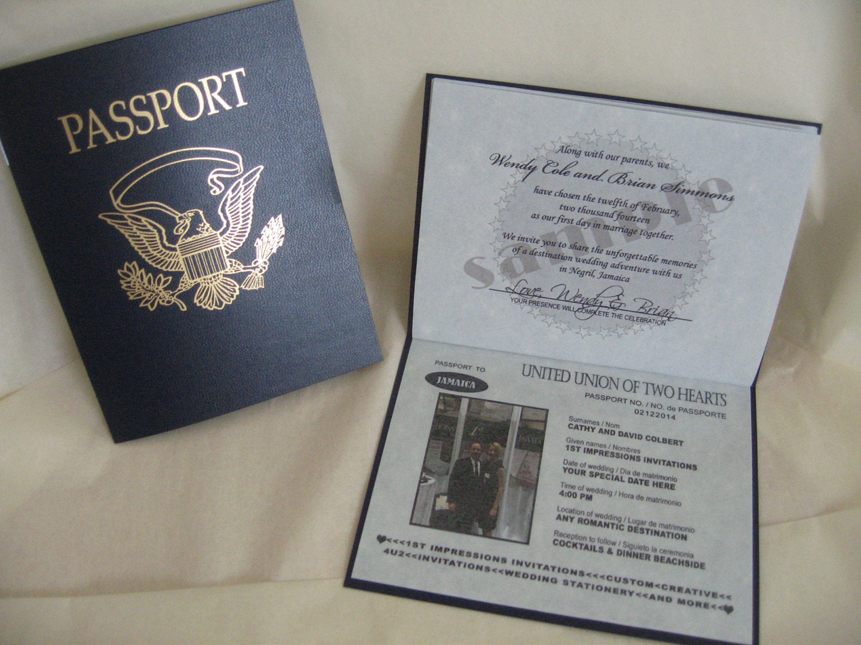 1 Passport Wedding Invitation Sample Custom By 1stINVITEdotCOM