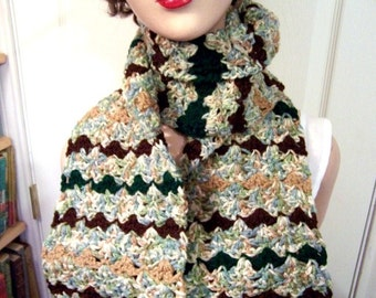 Hand Crocheted Scarf: Woodland Stripes, Greens & Browns - M0025