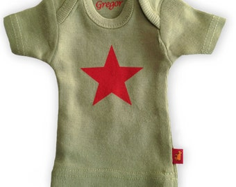 Sasha Doll & MSD sized T-Shirt - Sage with Red Star