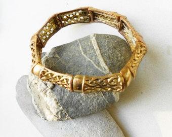 Vintage bracelet, victorian panel stretch bracelet bangle 8 brass filigree panels