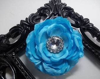 Turquoise hair clip, hair accessories turquoise flower with rhinestone center, girls hair clip hair accessory