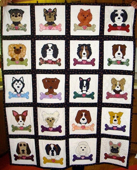 Bone-a-Fido Dogs - Dog Applique Quilt