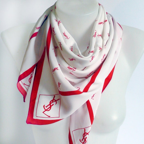 Vintage Yves Saint Laurent Silk Vintage White Red Monogram