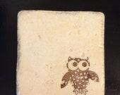 Hand Stamped Owl Ceramic Coaster