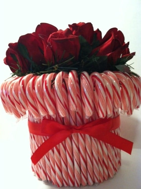 Items similar to candy cane rose centerpeice christmas