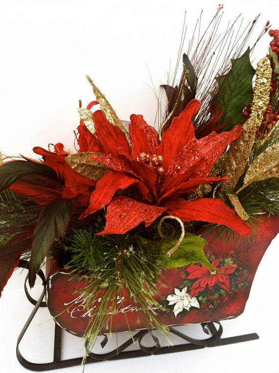 Christmas arrangement christmas centerpiece christmas for Poinsettia arrangements