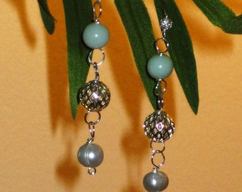 SPRING!  Green Jade and Pearl Artisan Earrings