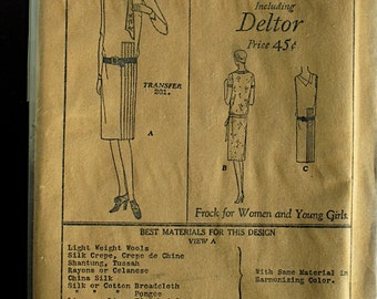 Vintage Flapper Dress Pattern - Butterick 2138 - 1920s Deltor B33 H35