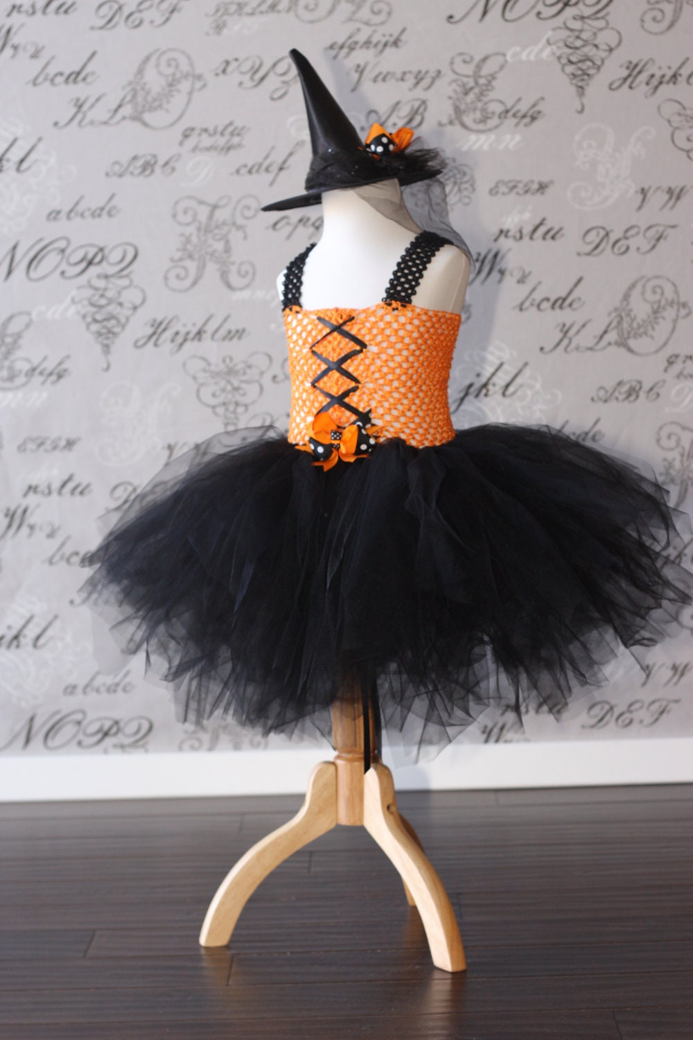 Orange And Black Witch Tulle Tutu Dress Up Halloween Costume