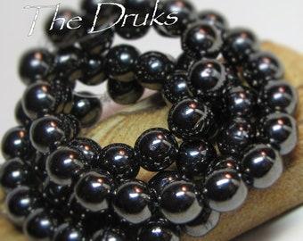 Round Druk Beads Purple-Mother of Pearl 6mm (007)
