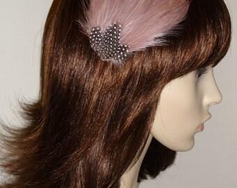 Latte Mocha Brown Dusky Pink Feather Fascinator HAIR CLIP Bridesmaids Hair Accessory Handmade Wedding 'Gwen'