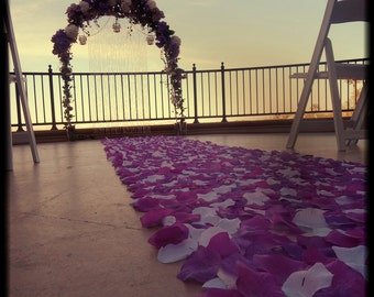 Rose Petal Aisle Runner -Lilac Sky- Dark Purple, Light Purple & White Silk Rose Petal Aisle Runner, Wedding Aisle Runner, Petal Runner