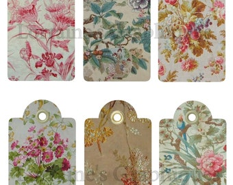 Antique French Toile Digital Gift Tags JPG and PNG