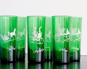 Vintage Silhouette Green Glasses set of 6