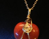 "25mm Red Jasper Heart Reversble Pendant, Gold-Plated 20"" Curb Chain"