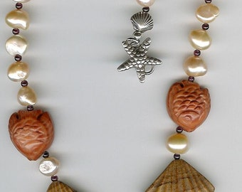 Carved Jade and Agate Gemstone Shells and Fish, Freshwater Pearls, Garnet, Sterling Starfish Clasp Necklace Sea Ocean Beach Jewelry