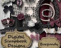 Digital Scrapbook Kit - 'Burgundy'