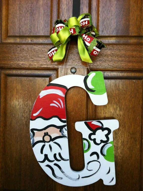 items similar to wooden monogrammed santa christmas door hanger on etsy