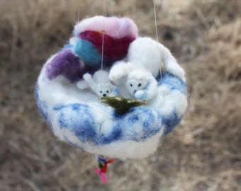 Polar Bear Baby Crib Ornament, cloud mobile decor, felted story, Mother and Son, Fishing, Aurora Borealis, parent gift, white bears, family
