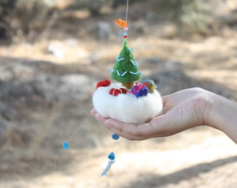 Christmas tree mobile ornament, New Year party favor, felted mobile, flying island, red heart, cloud mobiles, gift boxes