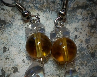 Yellow Amber Drop Earrings