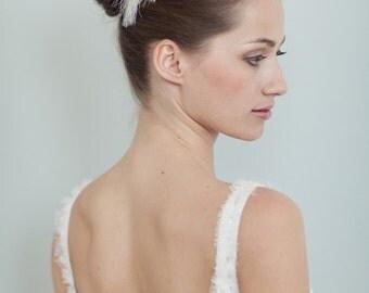 "Bridal Accessory feather piece, headpiece wedding - ""Natalie"""