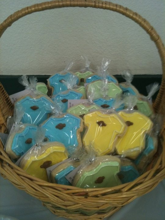 doz animal themed onesie baby shower cookies favors