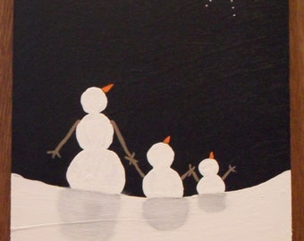 Original painting on wood, winter scene of adult snow person, snow child and toddler gazing on star