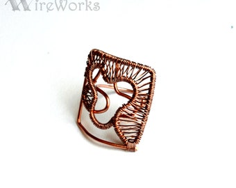 Abstract Ring. Wire wrapped copper  modernist ring