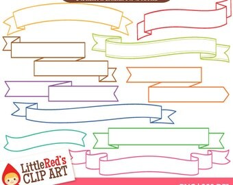 Outlined Rainbow Scrolls - 10 banner designs in 16 colors - personal and commercial use