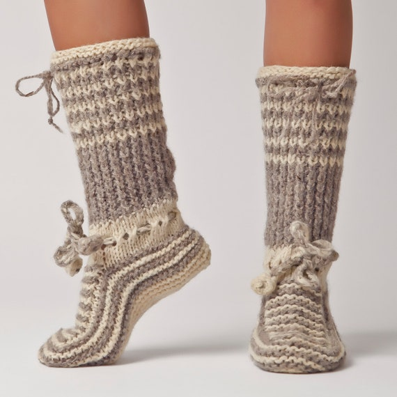 Hand Knit Wool Knee Sock Warm Soft Bulgarian Slipper by ...