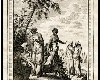Antique African Print - Femmes d' Afrique - 1747 - Elegant - Beautiful - Au Naturale - Au Naturel
