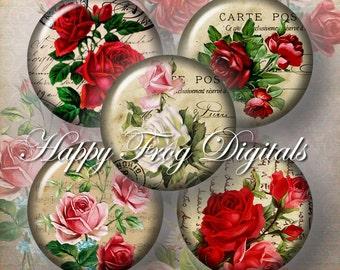 Vintage roses - 12, 14, 16, 18, 20 mm circles - Digital Collage Sheet - 100 HFD - Printable Download - Instant Download