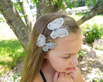 Set of 2 Silver Butterfly Hair clips, Butterflies, Grey hairclips, Vintage, Girl Hairclip, Hair Accessories, Photo Prop, Flower Girl