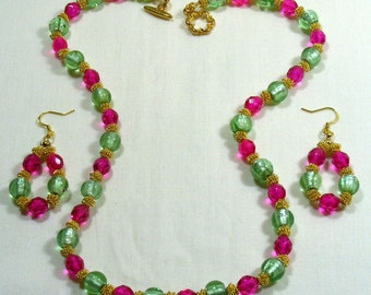 Hot Pink Necklace with Earrings