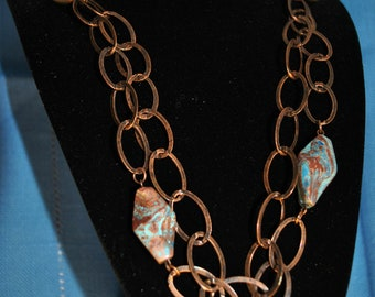 "33""- Long Antique Copper and Stone Necklace"