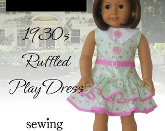 Pixie Faire Eden Ava Couture 1930's Ruffled Play Dress Doll Clothes Pattern for 18 inch American Girl Dolls - PDF