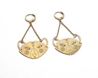 """TOTEM bear"" earrings gold"