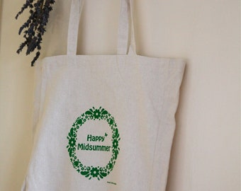 Happy Midsummer : hand screen printed Hemp tote bag
