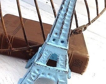 Eiffel Tower, Shabby Chic , Soft Aqua, French Decor, Cast Iron, Gifts