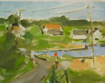 Original oil landscape/sketch  - 5x7 - Charlestown, Rhode Island